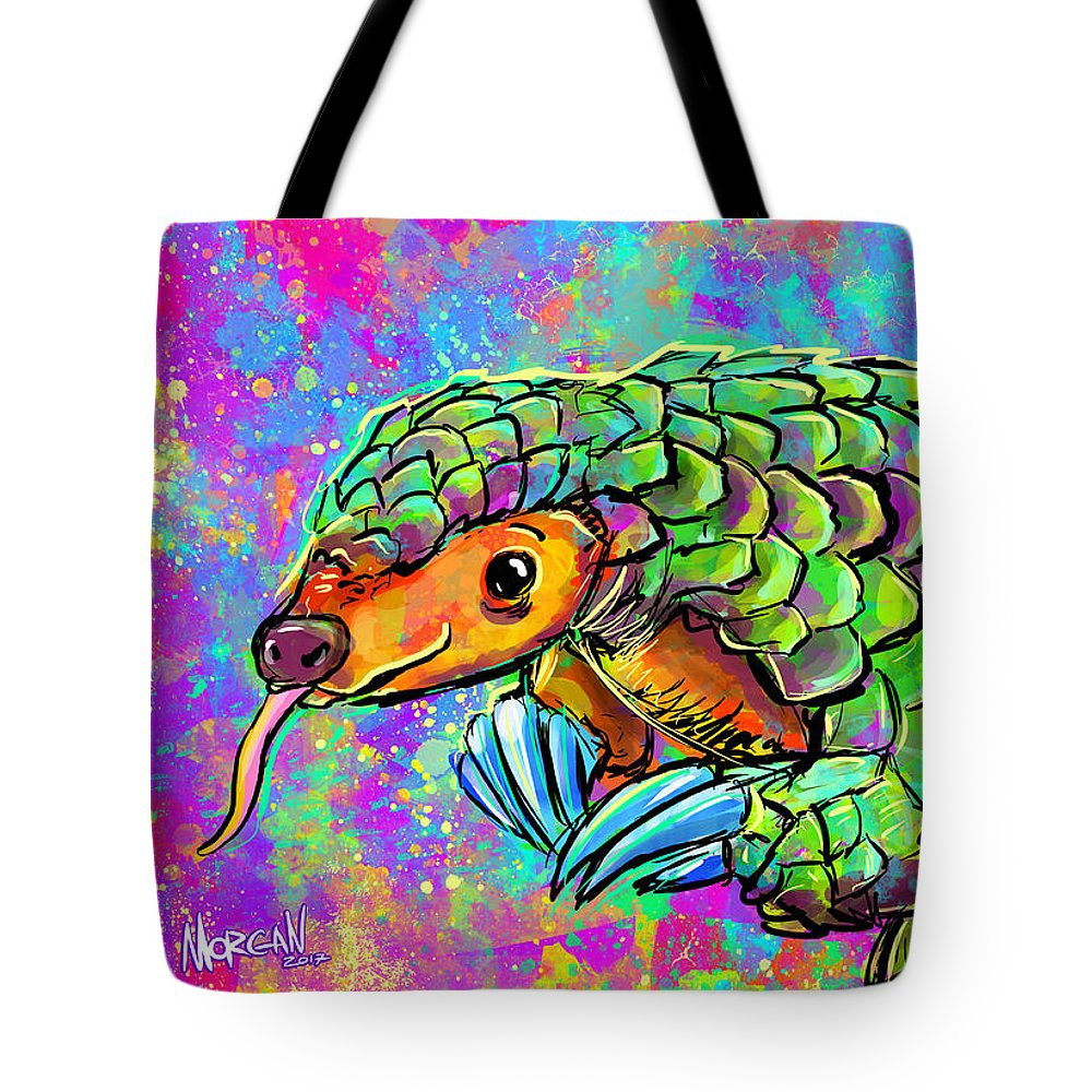 Elephant Tote Bag featuring the digital art Pangolin by Morgan Richardson