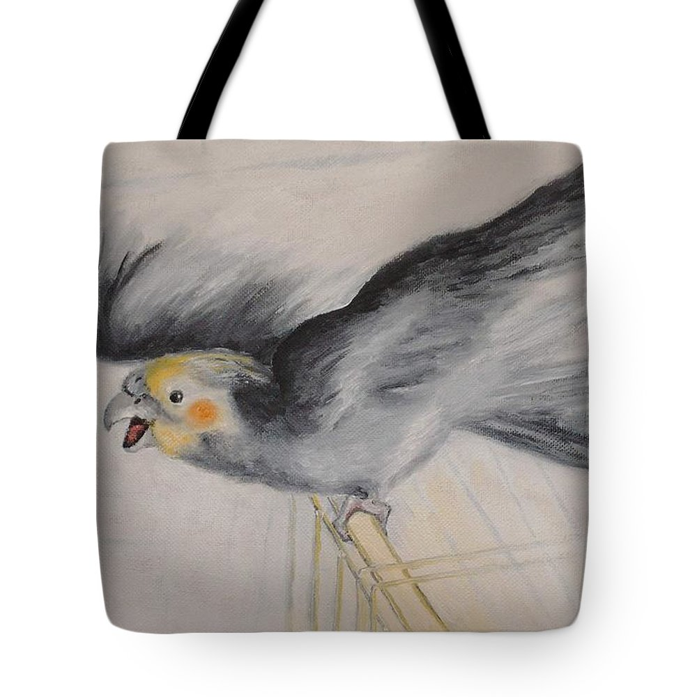 Cockatiel.pet Tote Bag featuring the painting our cockatiel Coco by Helmut Rottler