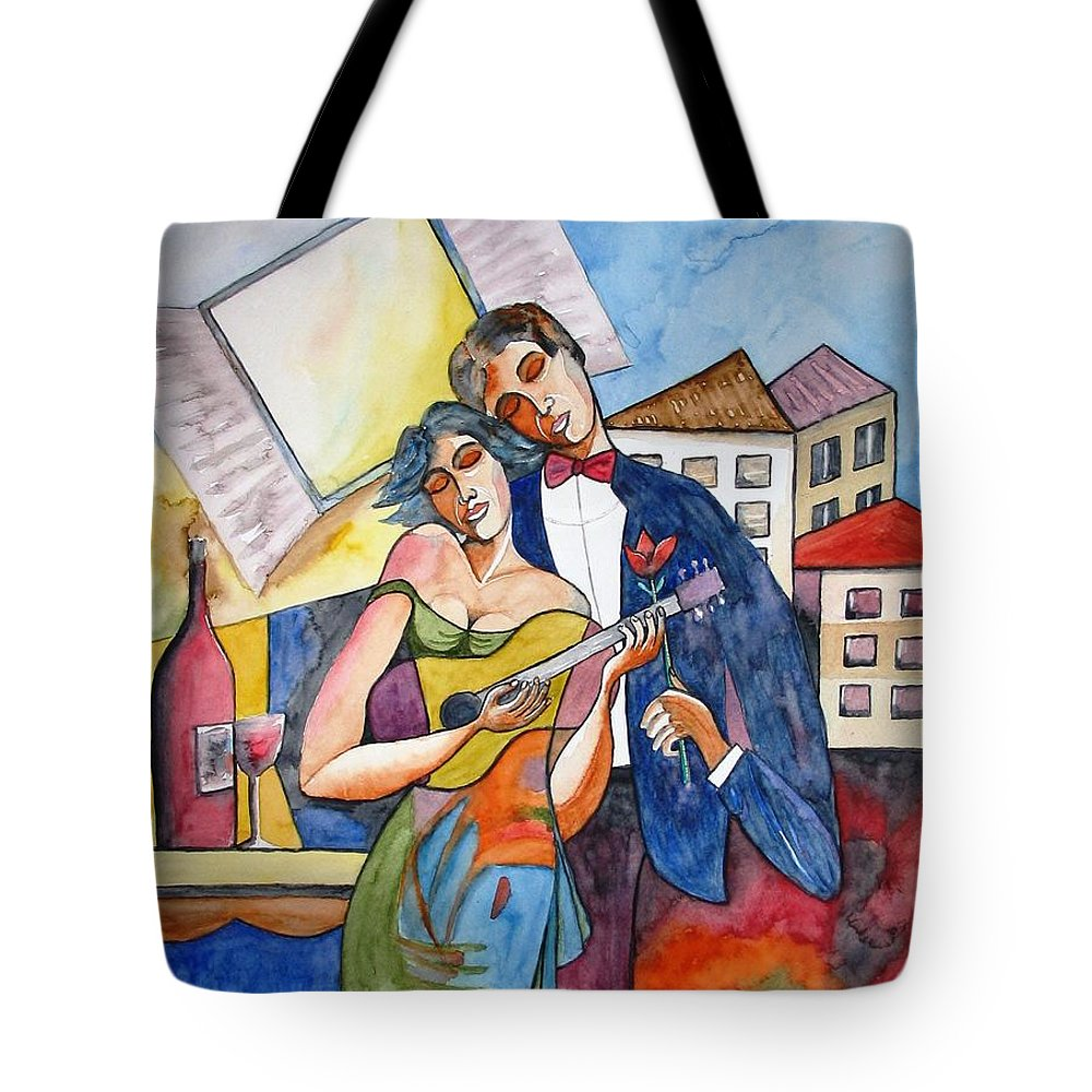 Music Tote Bag featuring the painting Our Dream by Guri Stark