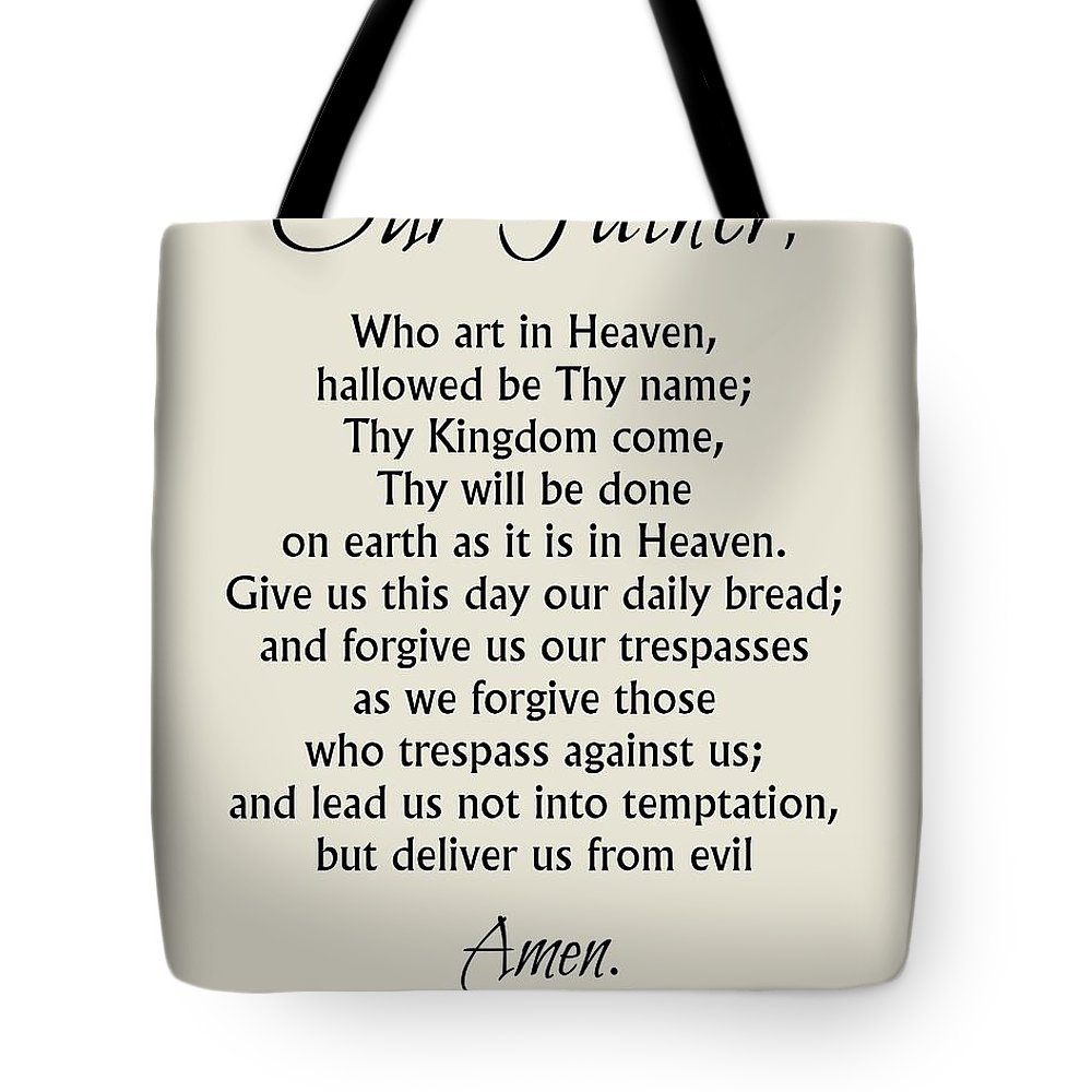 our father prayer catholic lord u0027s prayer tote bag for sale by