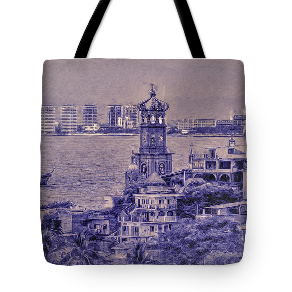 Puerto Vallarta Tote Bag featuring the photograph Our Lady Of Guadalope In Puerto Vallerta Mexico. Banderas Bay. by George Robinson