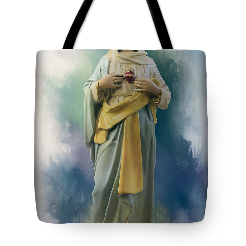 Mary Tote Bag featuring the photograph Our Lady Of The Immaculate Heart by Theresa Campbell