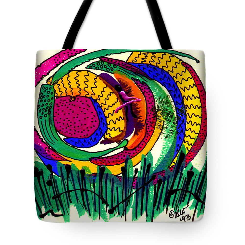 Abstract Tote Bag featuring the mixed media Our Own Colorful World IIi by Angela L Walker