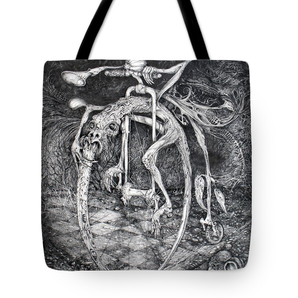 Ouroboros Tote Bag featuring the drawing Ouroboros Perpetual Motion Machine by Otto Rapp