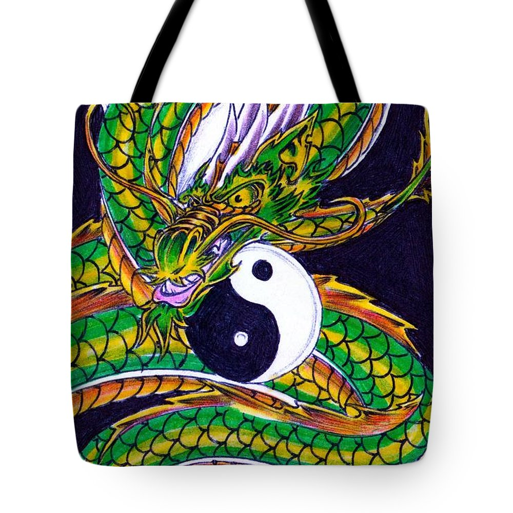 Ouroboros Unleashed Tote Bag featuring the drawing Ouroboros Unleashed by William P