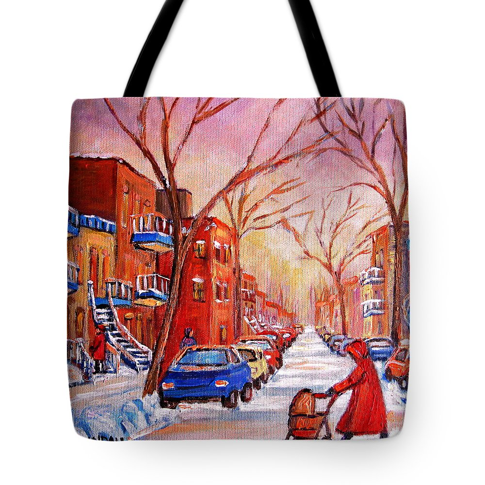 Montreal Tote Bag featuring the painting Out For A Walk With Mom by Carole Spandau