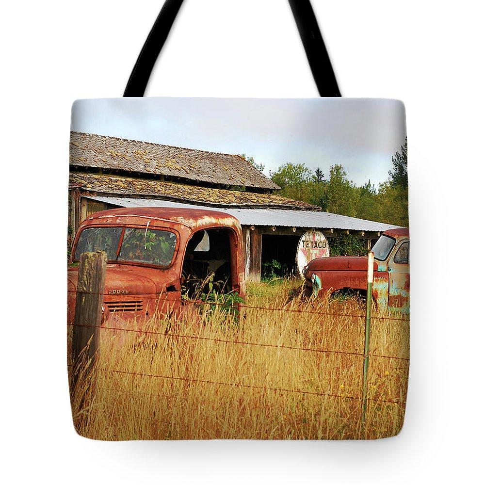 Old Texaco Sign Tote Bag featuring the photograph Out Of Gas. Rusty Trucks And Texaco Sign by Connie Fox