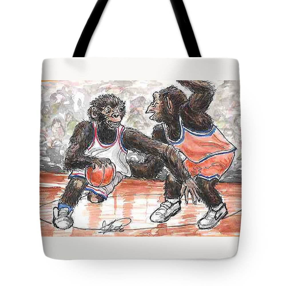 Basketball Tote Bag featuring the painting Out of my Way by George I Perez