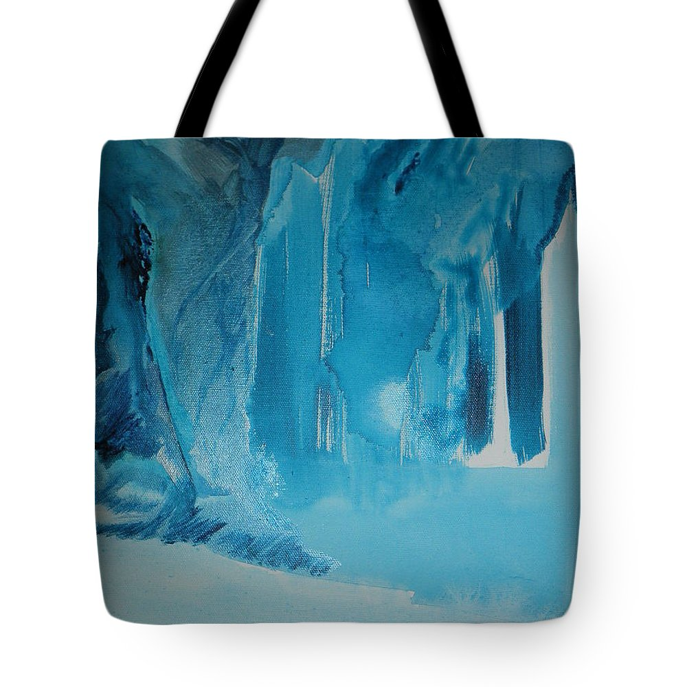 Blue Tote Bag featuring the painting Out Of The Blue by Solenn Carriou