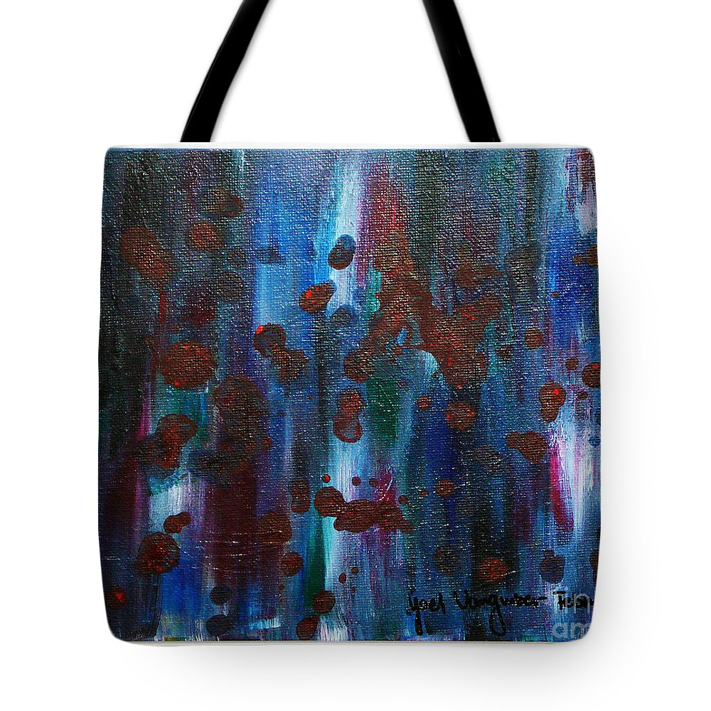 Acrylic Painting Tote Bag featuring the painting Out Of The Blue by Yael VanGruber