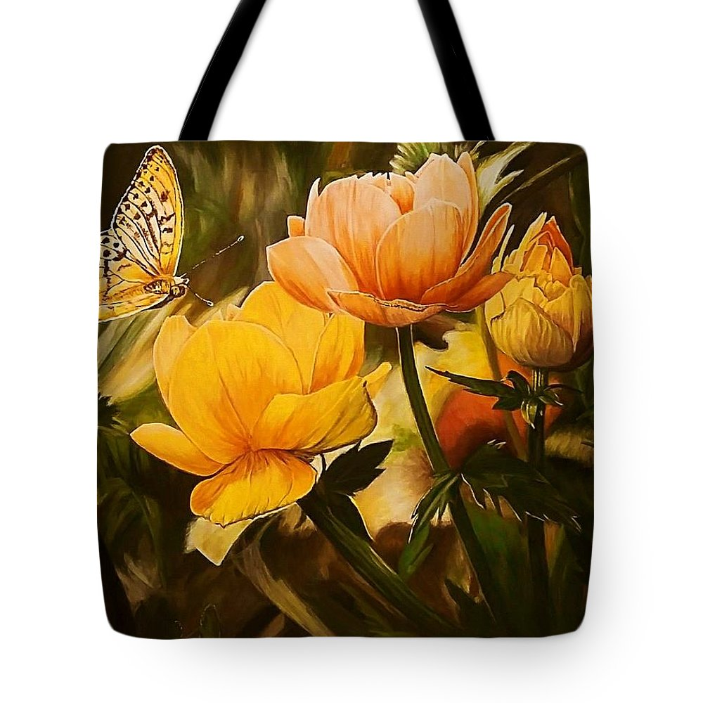 Acrylic Tote Bag featuring the painting Out Of The Dark by Sheryl Gallant