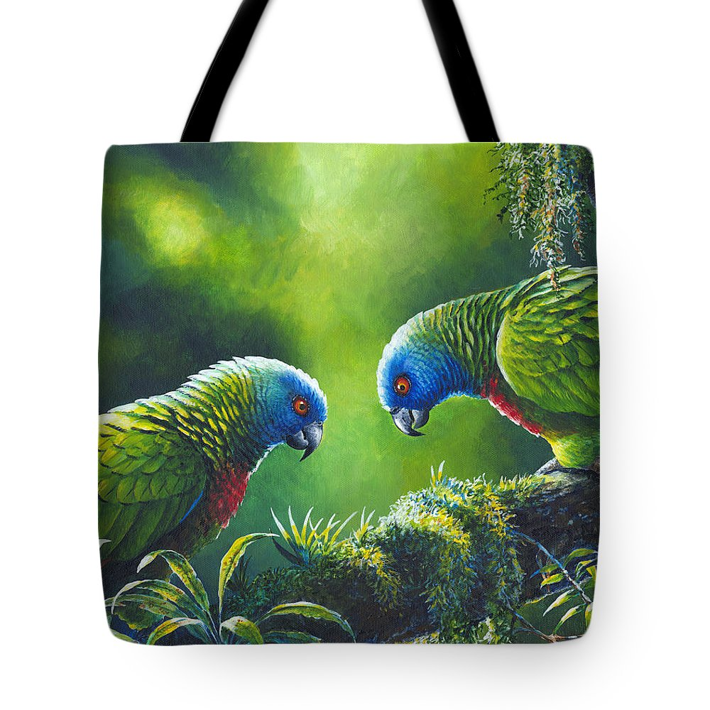 Chris Cox Tote Bag featuring the painting Out On A Limb - St. Lucia Parrots by Christopher Cox
