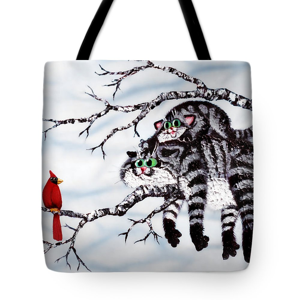 Cat Tote Bag featuring the painting Out On A Limb by Baron Dixon