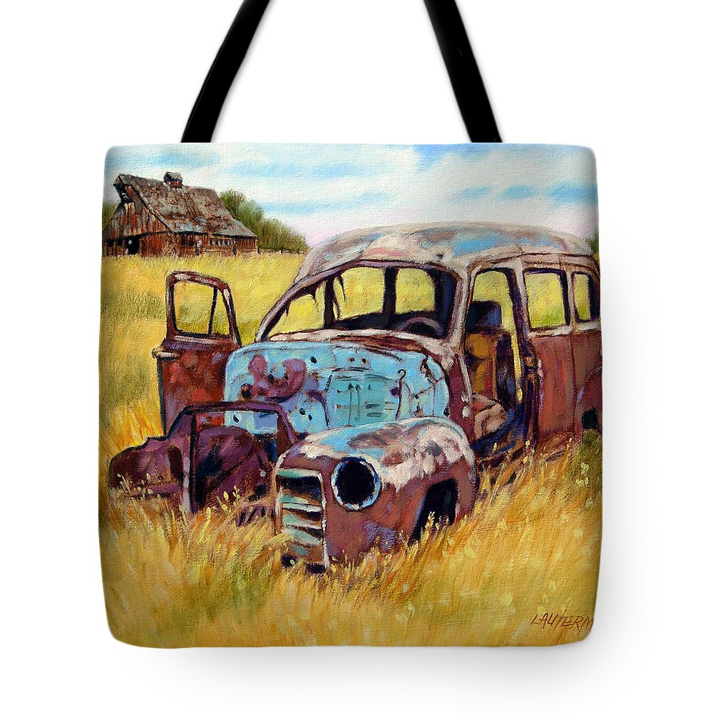 Old Rusty Car Tote Bag featuring the painting Out To Pasture by John Lautermilch