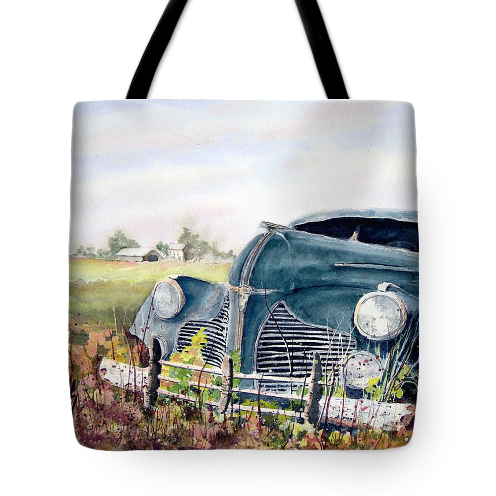 Classic Car Tote Bag featuring the painting Out To Pasture by Sam Sidders