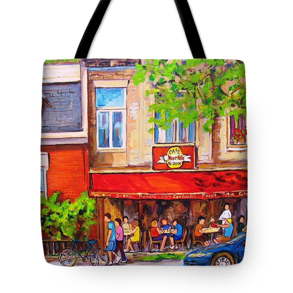 Montreal Tote Bag featuring the painting Outdoor Cafe by Carole Spandau