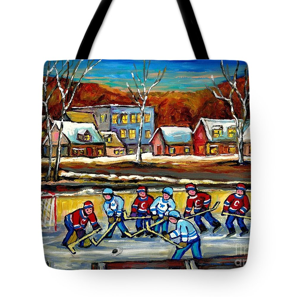 Country Hockey Rink Tote Bag featuring the painting Outdoor Hockey Rink by Carole Spandau