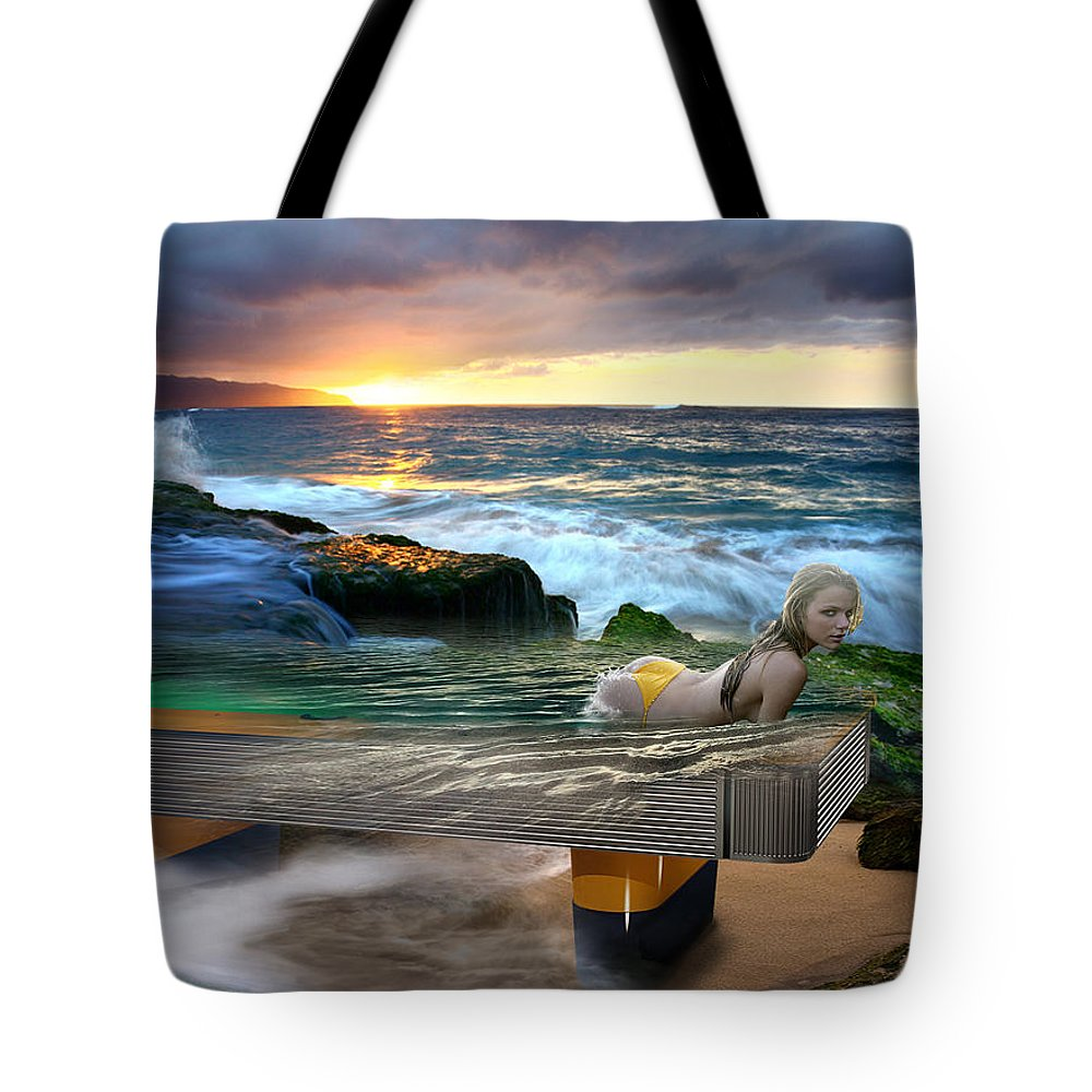 Pool Tote Bag featuring the digital art Outdoor Pool by Draw Shots