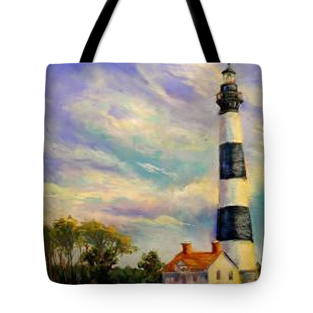 Lighthouse Tote Bag featuring the painting Outer Banks Lighthouse by Lynee Sapere