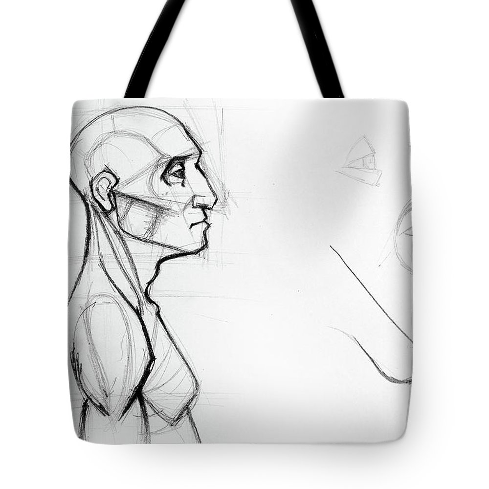 Outline Drawing Sketch Of Side Profile Of A Human Male Head And Torso Anatomy Illustration Tote Bag For Sale By Oana Unciuleanu