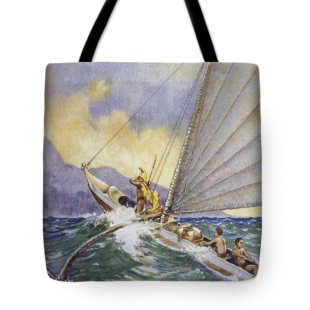 1926 Tote Bag featuring the painting Outrigger At Sea by Hawaiian Legacy Archive - Printscapes