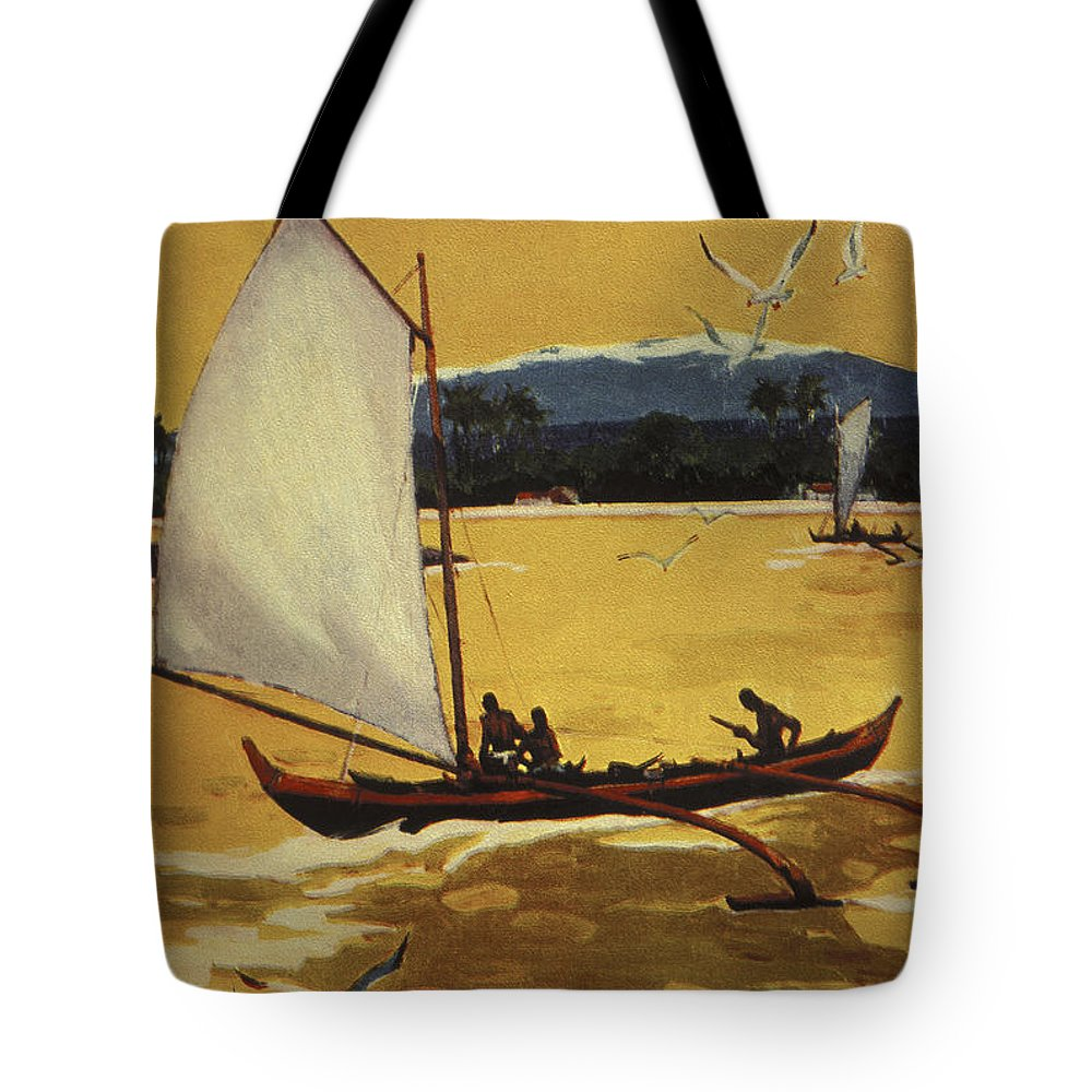 1922 Tote Bag featuring the painting Outrigger Off Shore by Hawaiian Legacy Archive - Printscapes