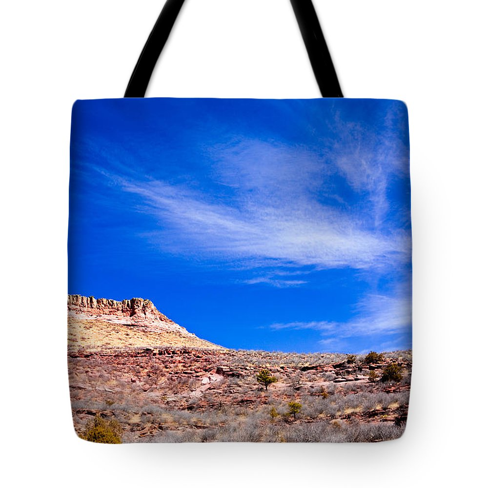 Red Tote Bag featuring the photograph Outside Lyons Colorado by Marilyn Hunt