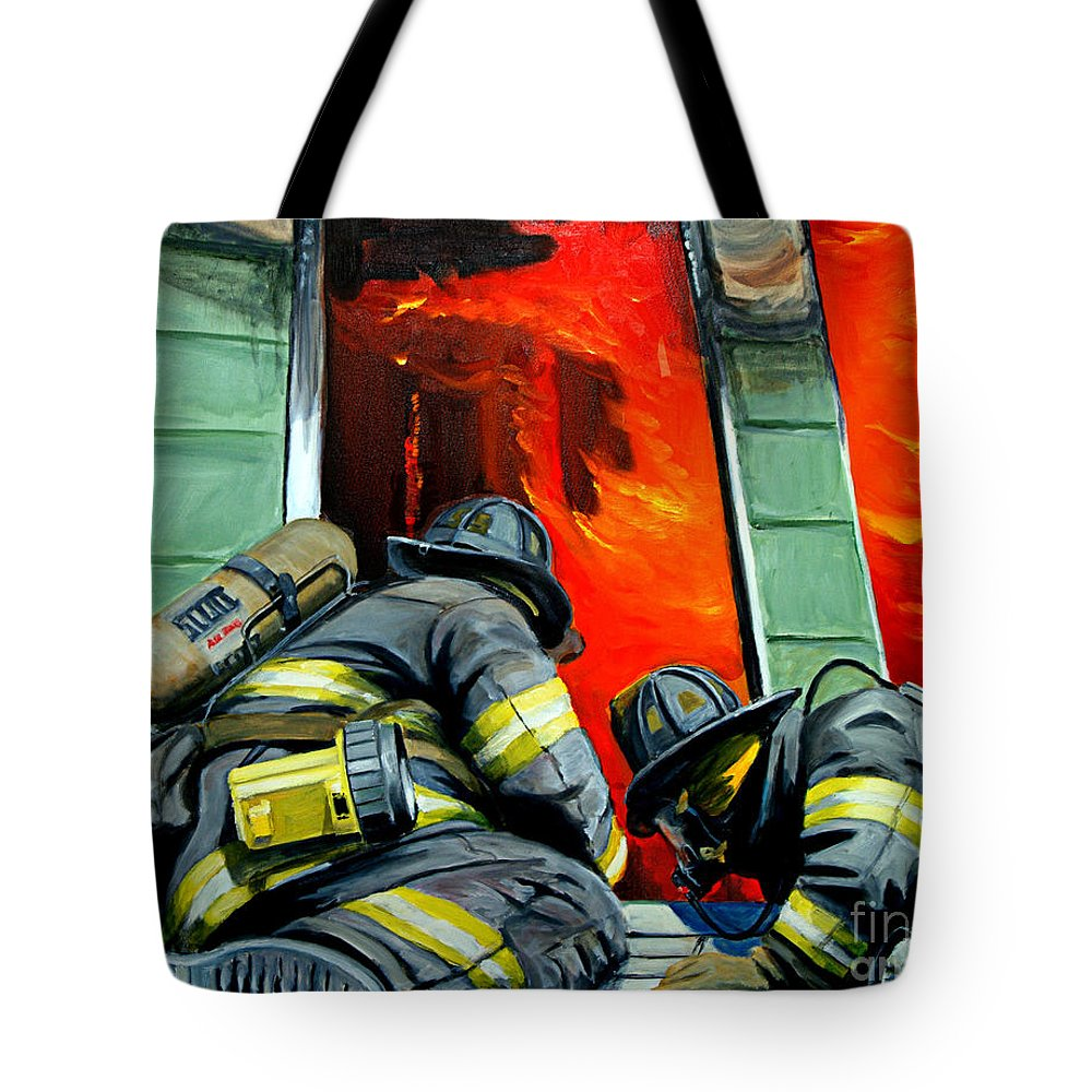 Firefighting Tote Bag featuring the painting Outside Roof by Paul Walsh