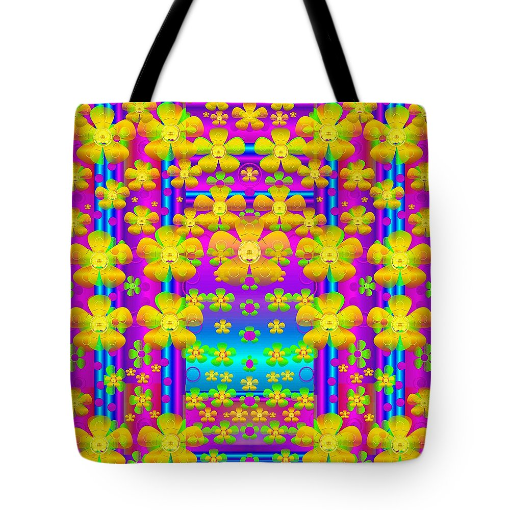 Landscape Tote Bag featuring the mixed media Outside The Curtain It Is Peace Florals And Love by Pepita Selles