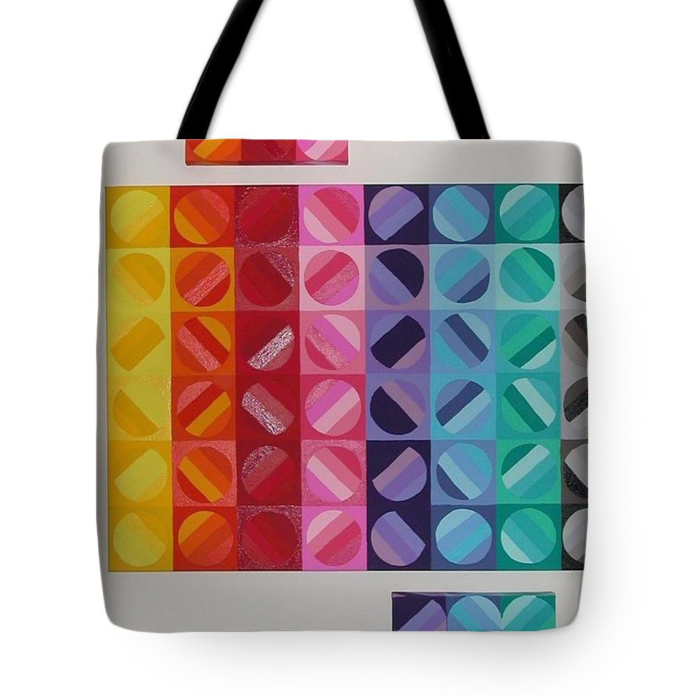Multi Colored Circles Painting Tote Bag featuring the painting Over And Under The Rainbow by Gay Dallek