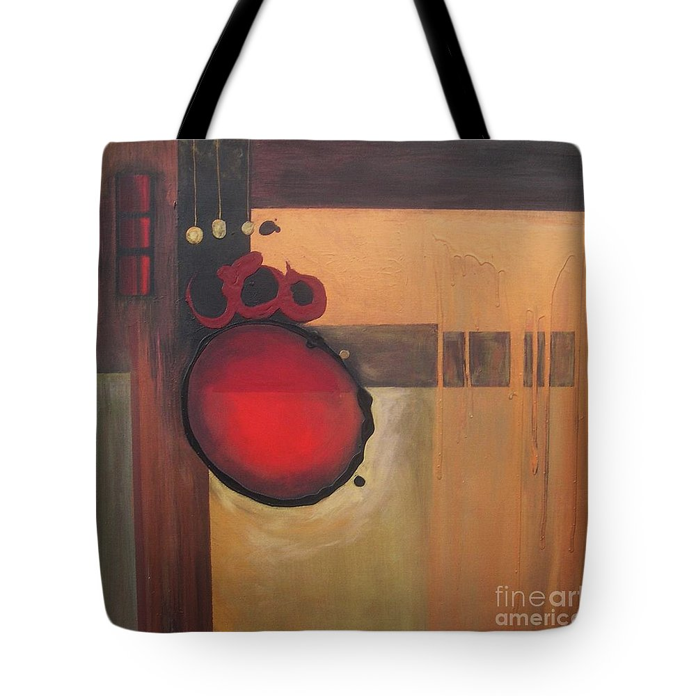 Abstract Tote Bag featuring the painting Over Easy by Marlene Burns