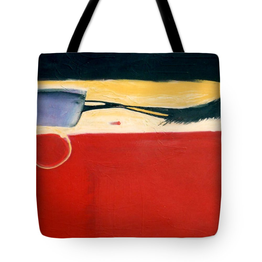 Red Tote Bag featuring the painting Over Optics by Marlene Burns