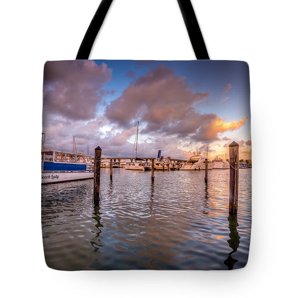 Miami Tote Bag featuring the photograph Over The Bay by Vincent Asbjornsen