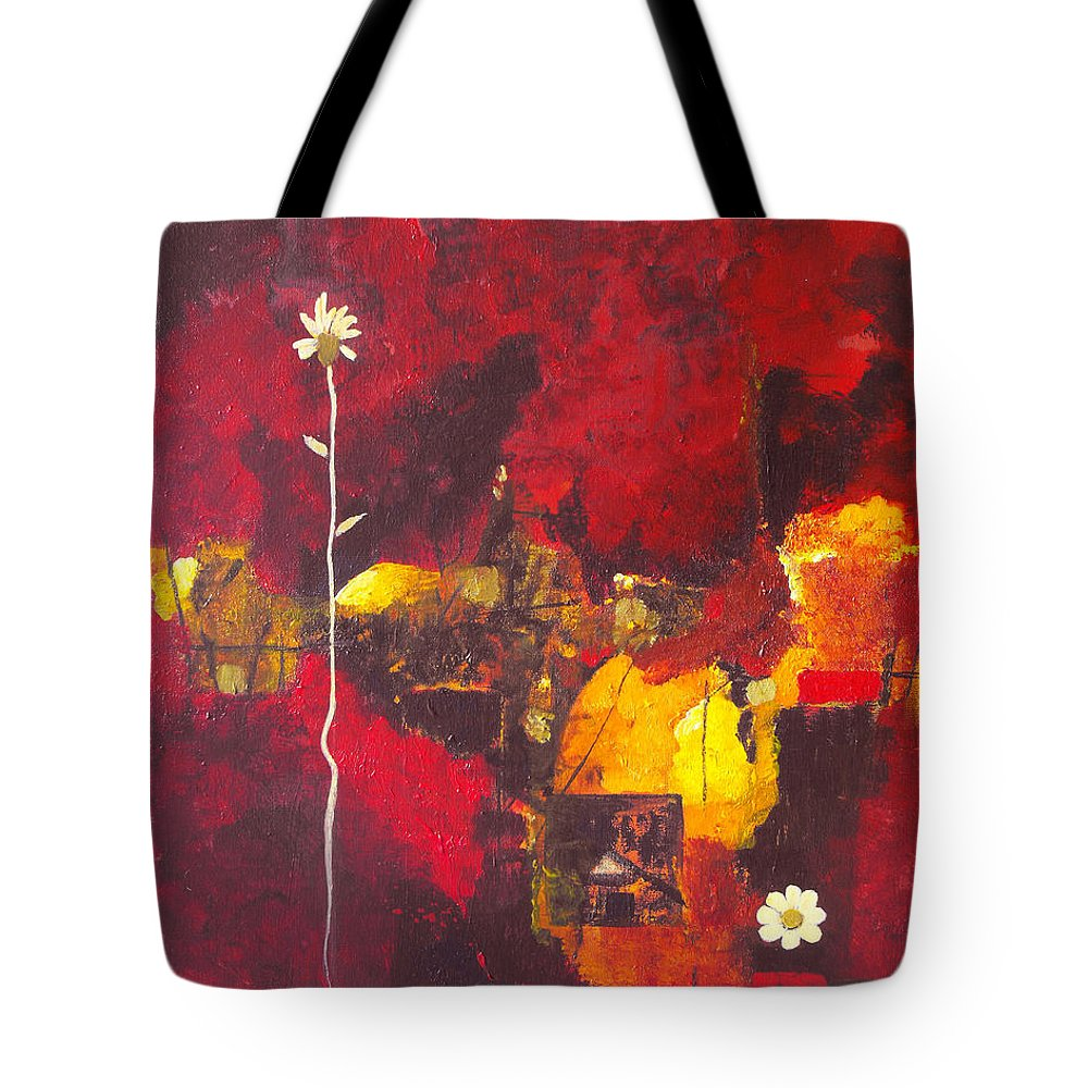 Abstract Tote Bag featuring the painting Over The Broken Fence by Ruth Palmer