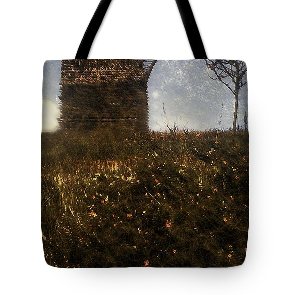 Autumn Tote Bag featuring the painting Over The Hill by RC DeWinter