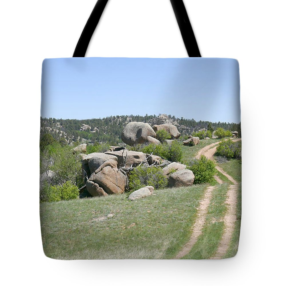 Ron Glaser Tote Bag featuring the photograph Over The Hill by Ron Glaser