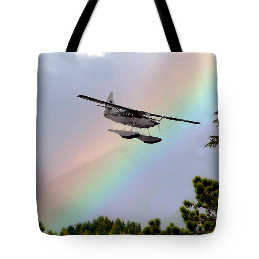 Rainbow Tote Bag featuring the digital art Over The Rainbow by Kenna Westerman
