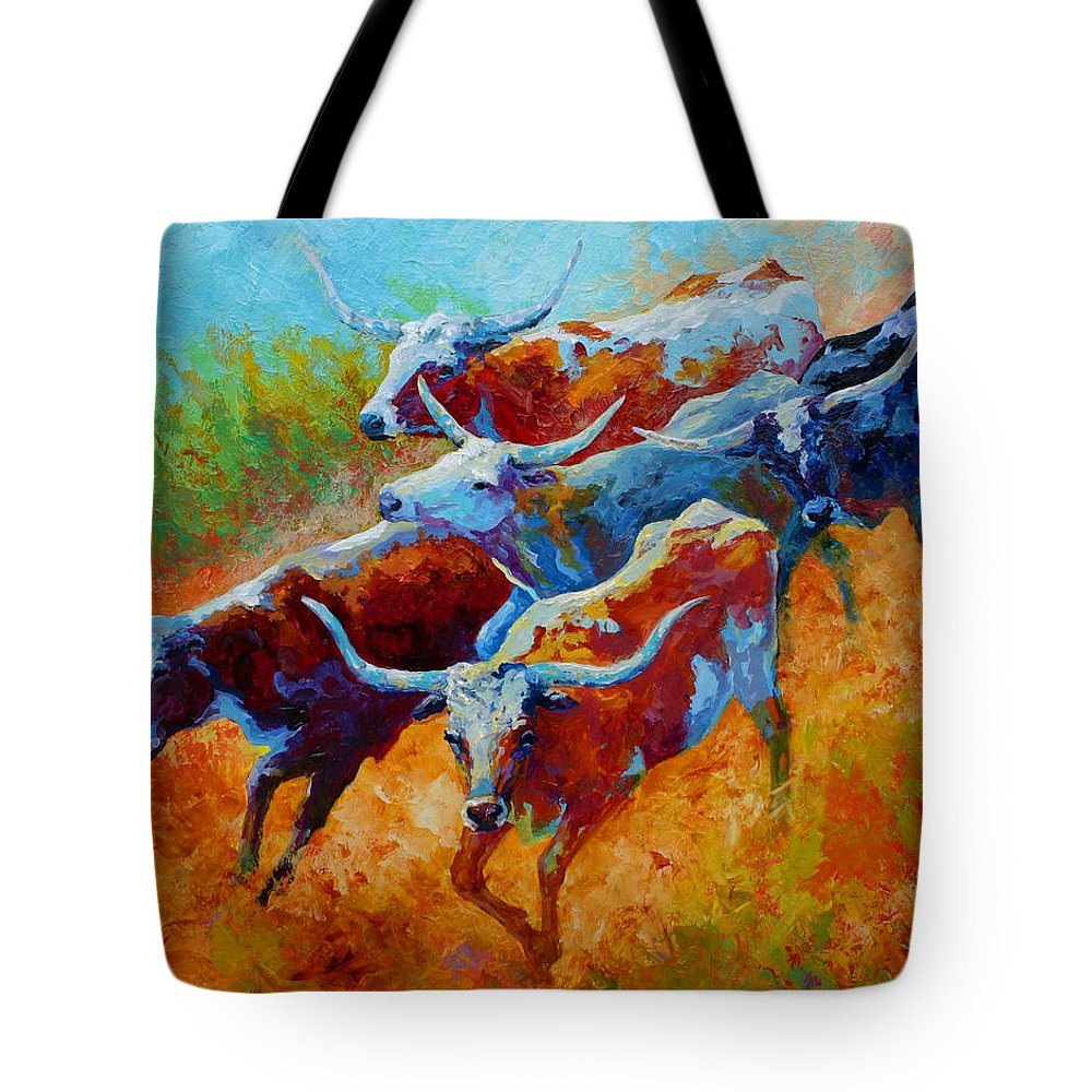 Western Tote Bag featuring the painting Over The Ridge - Longhorns by Marion Rose