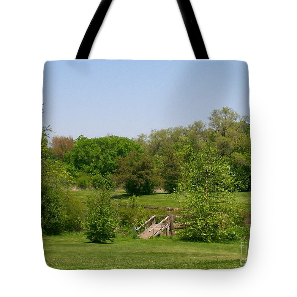 Bridge Tote Bag featuring the photograph Over The River And Through The Woods In Summer by Laurie Eve Loftin