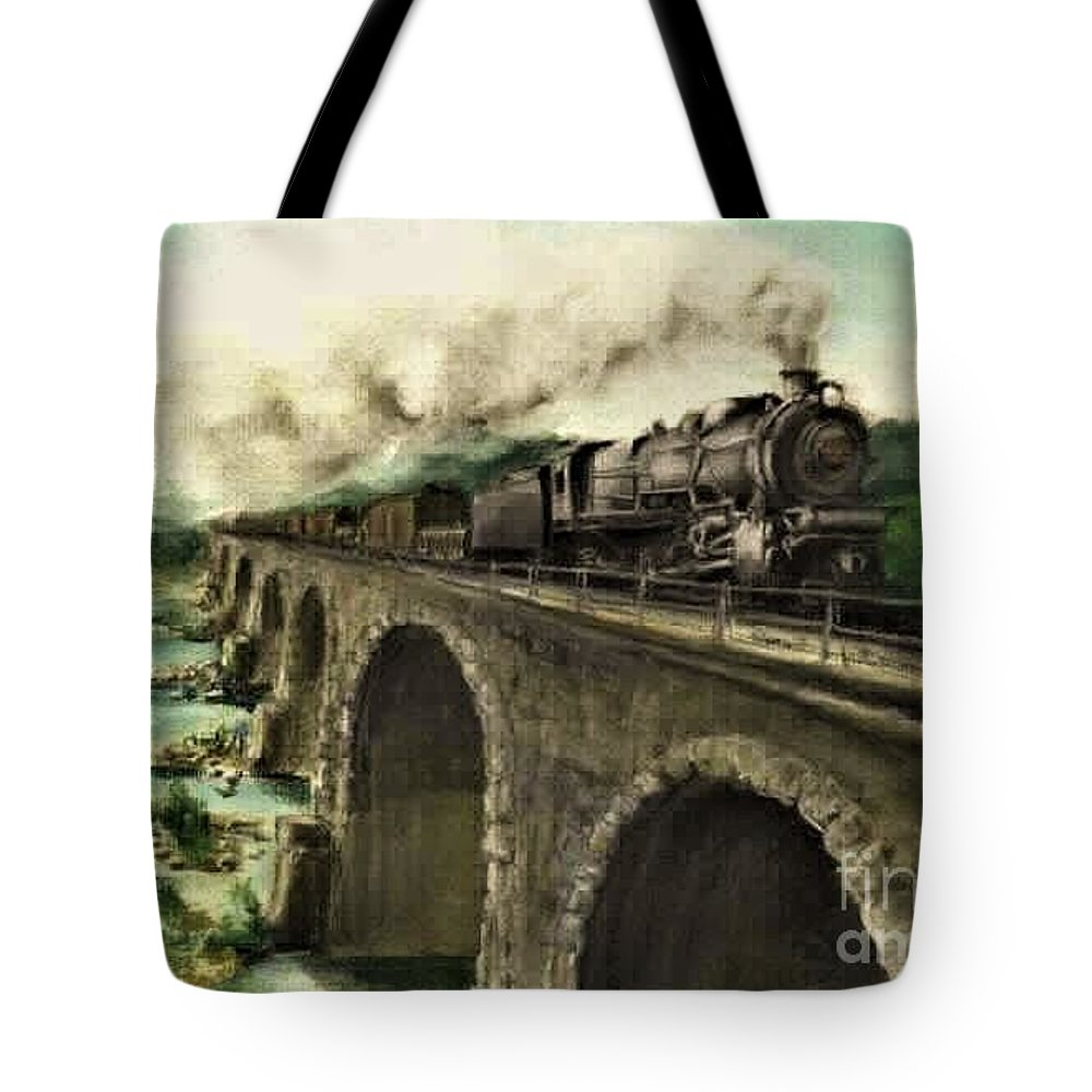 Steam Engine Tote Bag featuring the painting Over the River by David Mittner