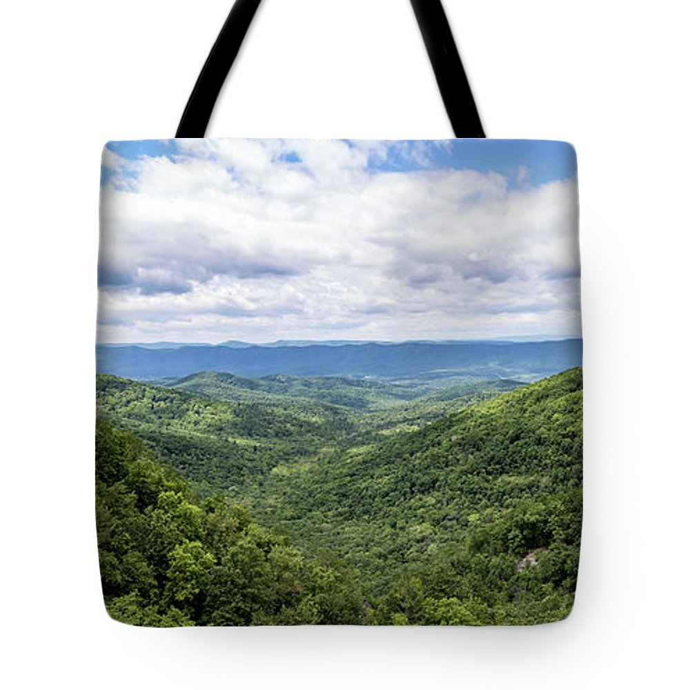 Overlook Tote Bag featuring the photograph Overall Run Falls Overlook Panoramic by Matt Sexton