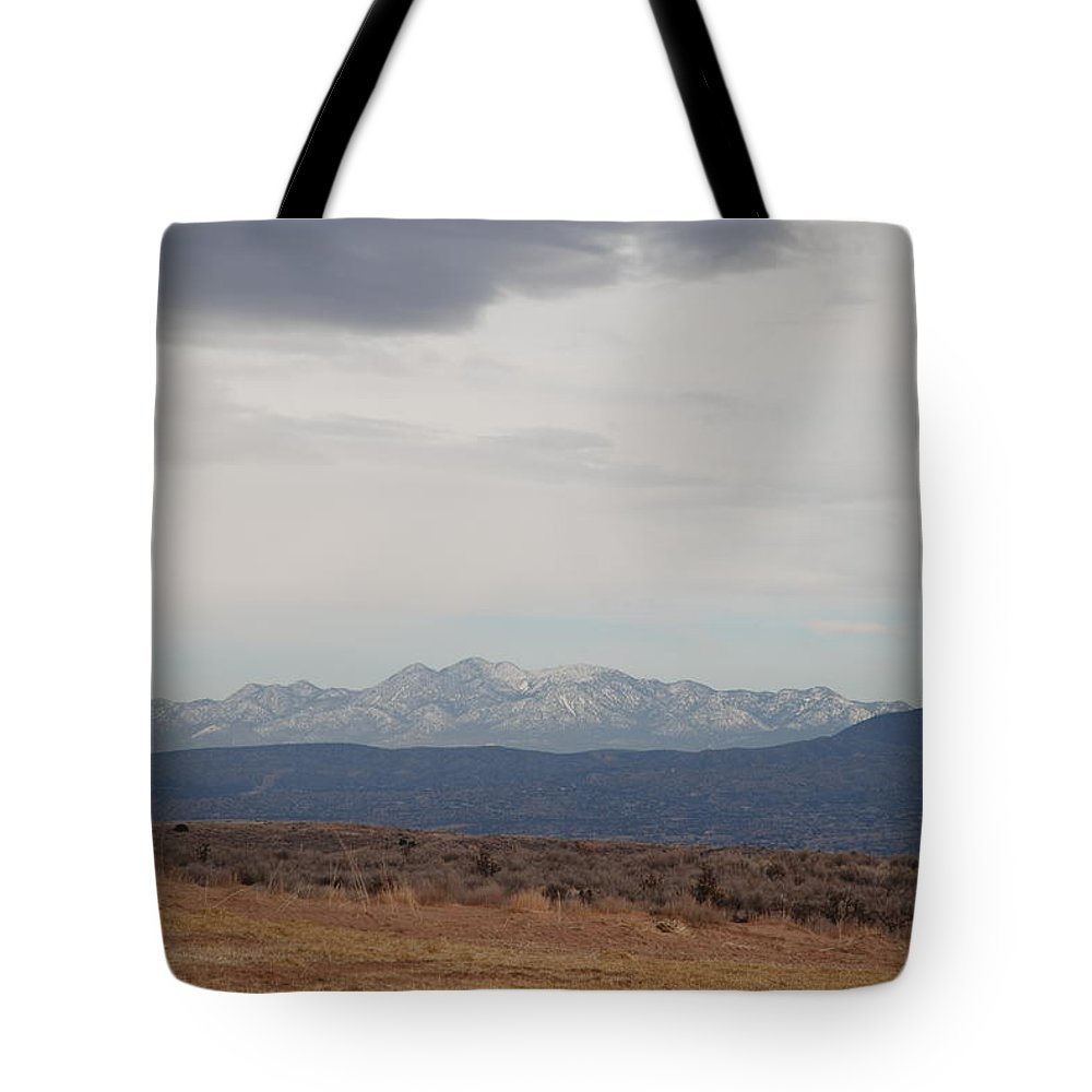 Mountains Tote Bag featuring the photograph Overcast On The Sandias by Rob Hans