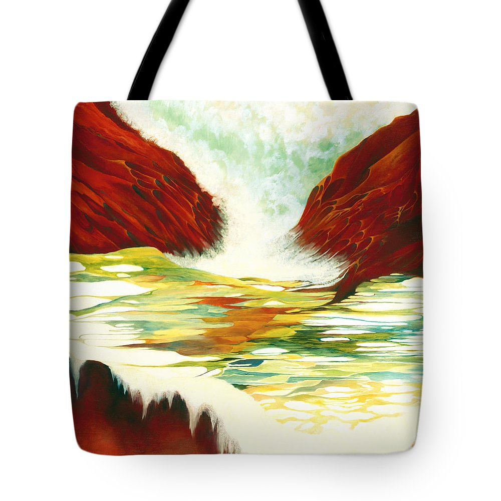 Oil Tote Bag featuring the painting Overflowing by Peggy Guichu
