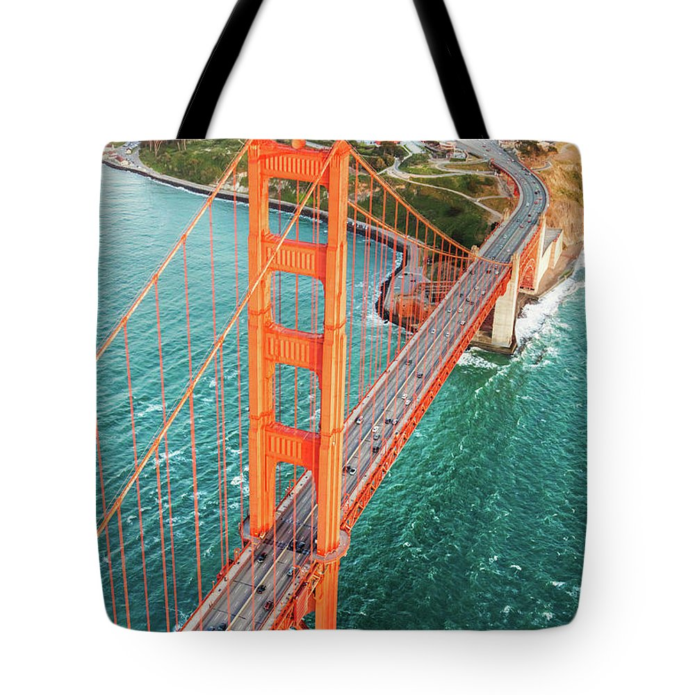 Architecture Tote Bag featuring the photograph Overhead Aerial Of Golden Gate Bridge, San Francisco, Usa by Matteo Colombo