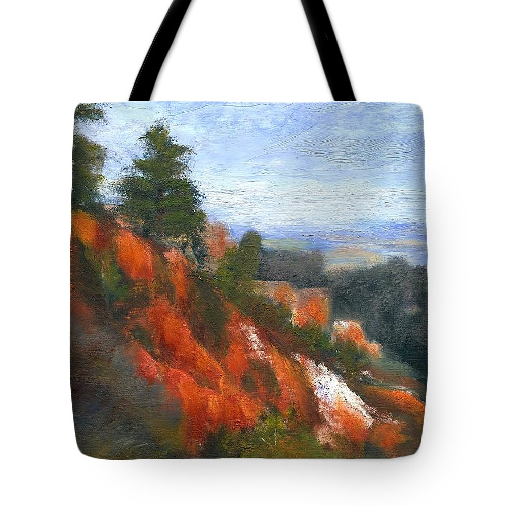 Southwest Tote Bag featuring the painting Overlook by Gail Kirtz