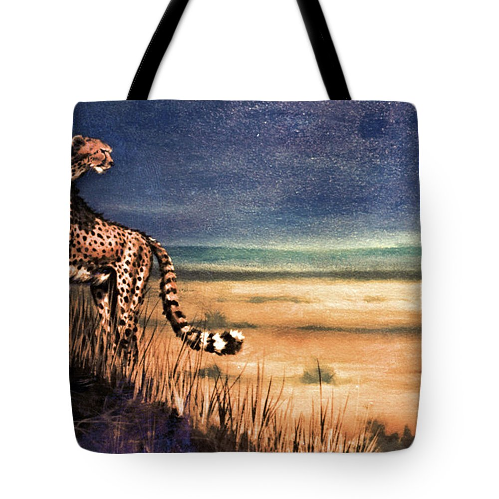 Cheetah Tote Bag featuring the painting Overseer by Duke Windsor