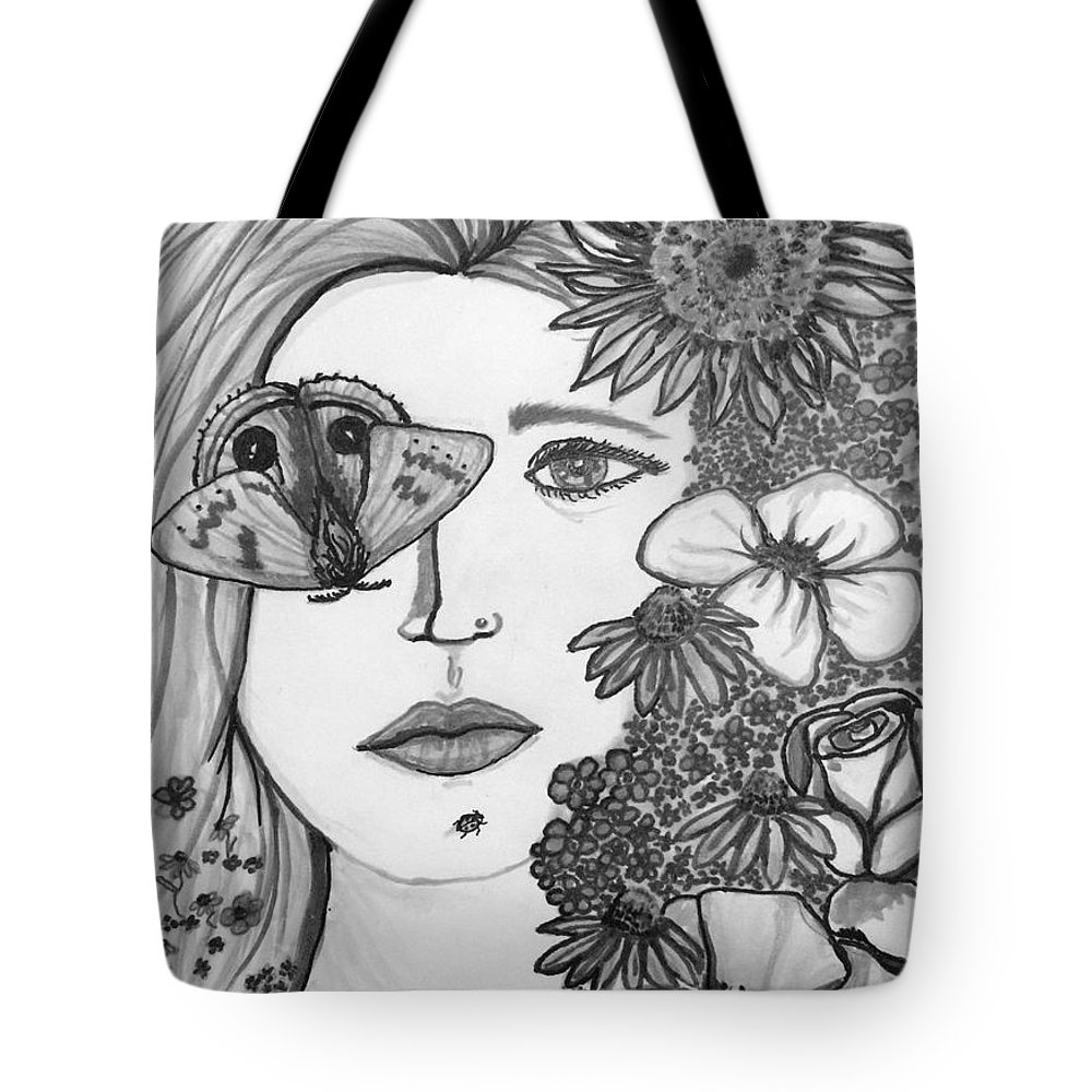 Moth Tote Bag featuring the drawing Overwhelmed by Amber Carter