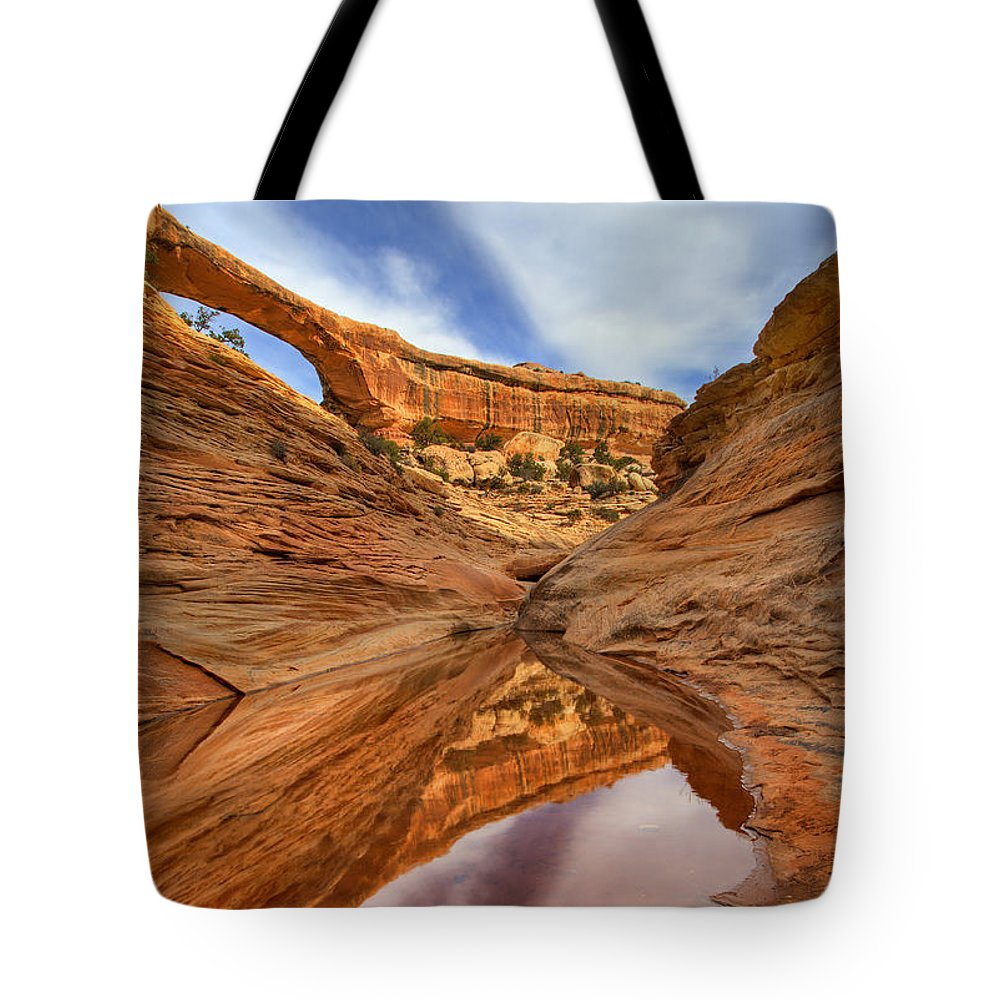 Bridge Tote Bag featuring the photograph Owachomo Reflected by Mike Dawson
