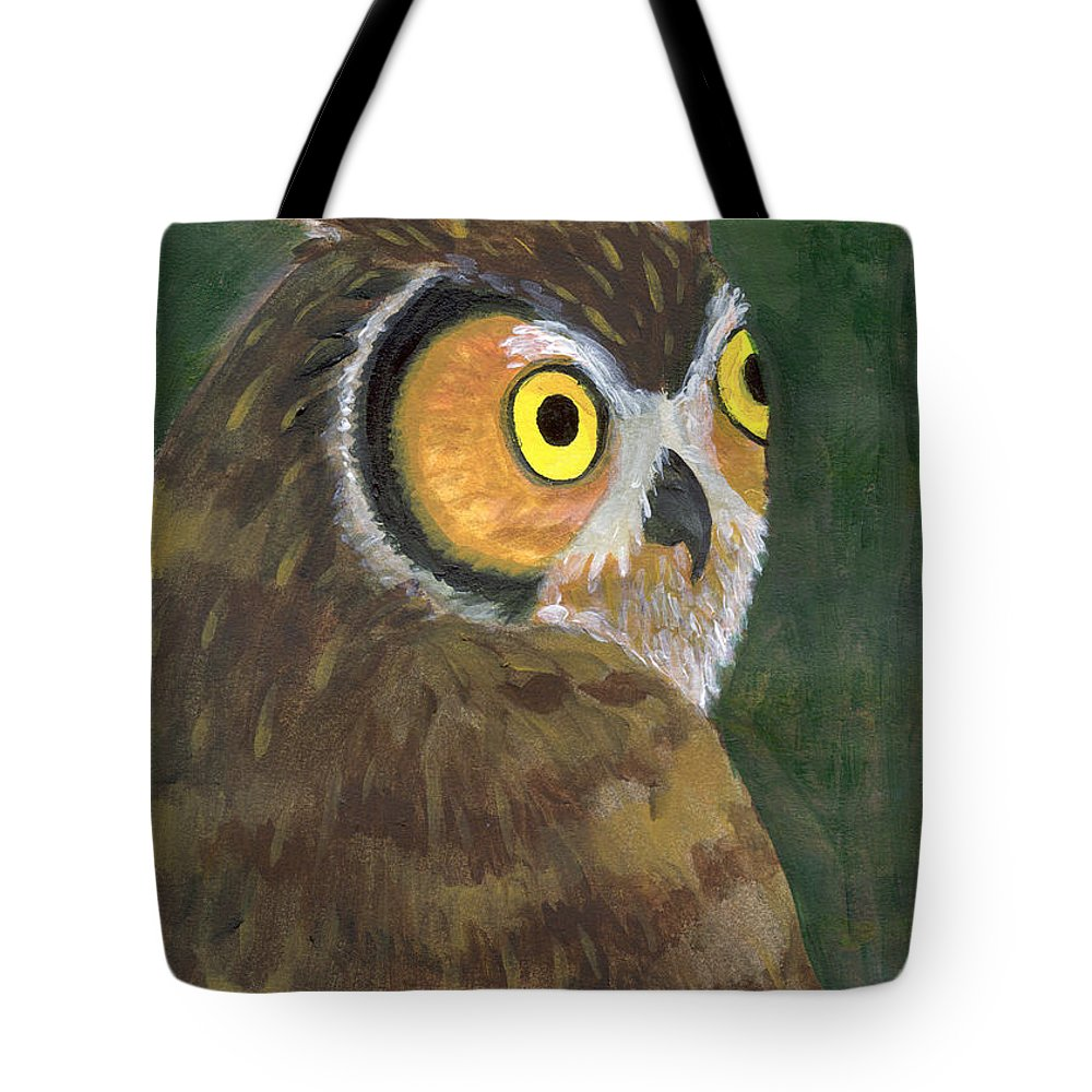 Owl Tote Bag featuring the painting Owl 2009 by Lilibeth Andre