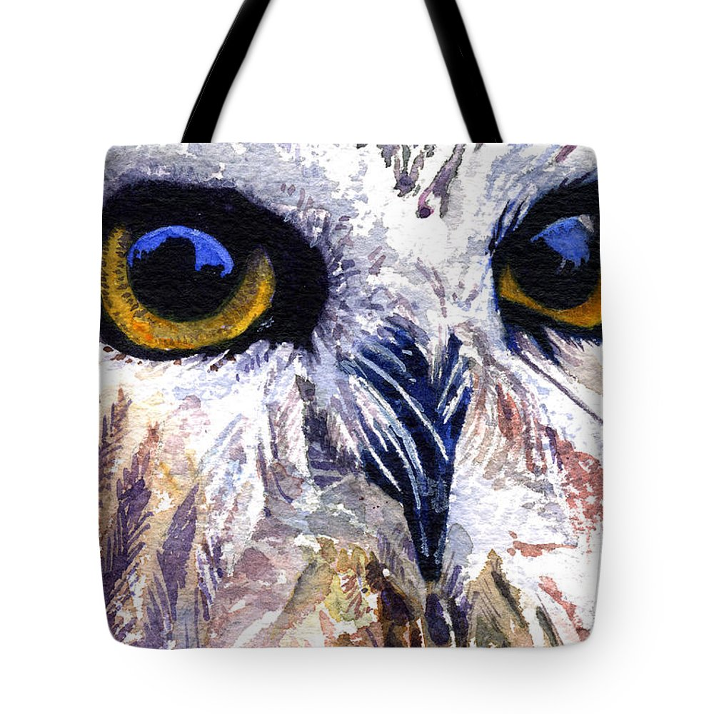 Eye Tote Bag featuring the painting Owl by John D Benson